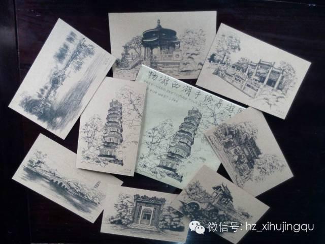《畅游西湖手绘导游图》,手绘笔记本和手绘明信片等.